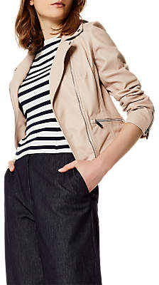 Karen Millen Leather Biker Jacket, Pale Pink