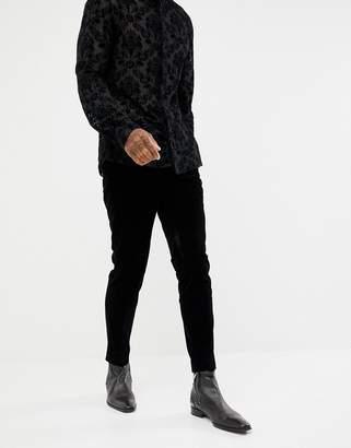 Moss Bros velvet suit PANTS in black