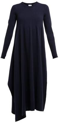 Barrie Asymmetric Side Slit Cashmere Midi Dress - Womens - Navy