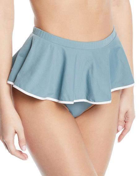 Piana High-Waist Peplum Skirted Bikini Bottoms