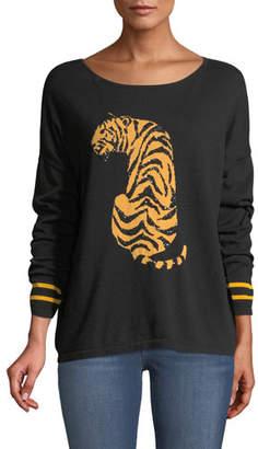 Joan Vass Boat-Neck Long-Sleeve Sequin-Striped Tiger-Intarsia Sweater, Petite