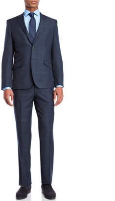 English Laundry Two-Piece Blue Grid Wool Suit