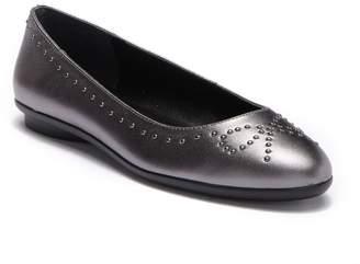 Donald J Pliner Markie Bow-Studded Metallic Leather Ballet Flat