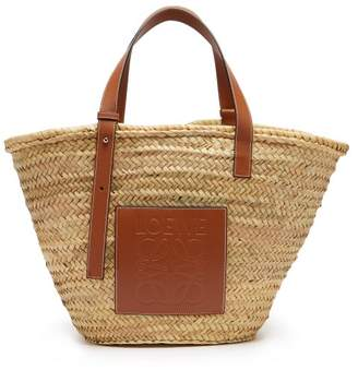 Loewe Leather Trimmed Woven Basket Bag - Mens - Beige Multi