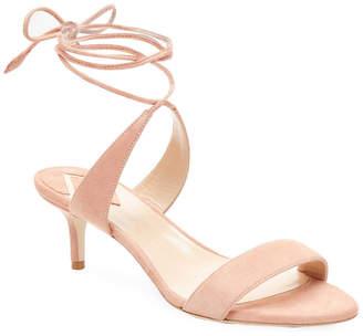 Aperlaï Suede Ankle Wrap Kitten Heel Sandal
