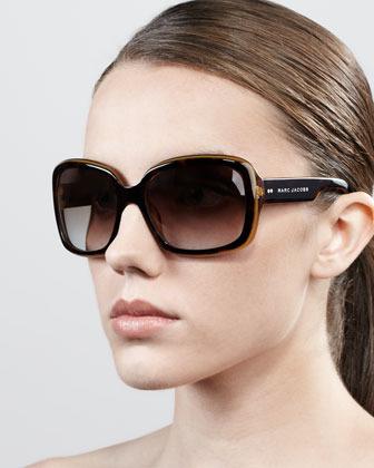 Marc Jacobs Thick-Rim Rectangle Sunglasses, Honey/Havana