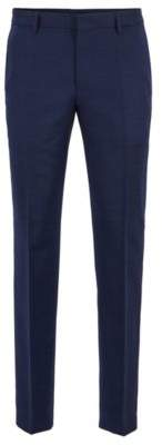 BOSS Hugo Micro-patterned slim-fit pants in virgin wool 32R Open Blue