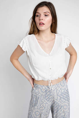Patrons Of Peace Gauze Lace Inset Embroidered Short Sleeve Peasant Top