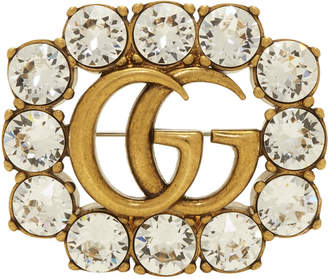 Gold GG Crystal Marmont Brooch
