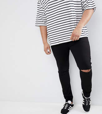 Asos DESIGN Plus super skinny jeans with knee rips