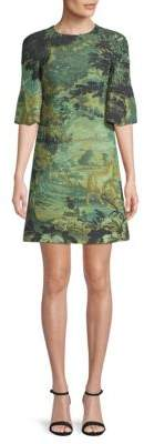 Burberry Printed Bell-Sleeve A-Line Dress
