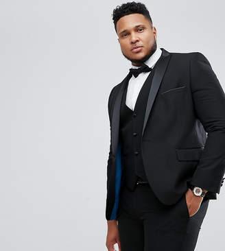 Harry Brown PLUS Plain Black Slim Fit Tuxedo Suit Jacket