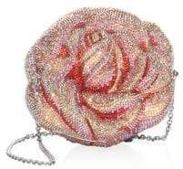 Judith Leiber Couture Crystal Beaded Apricot Rose Evening Bag