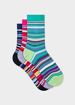 Paul Smith Women's Multi-Coloured Stripe Socks Three Pack