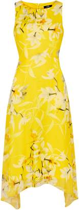 WallisWallis Yellow Floral Print Midi Dress
