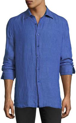 Stefano Ricci Barrel-Cuff Linen Dress Shirt