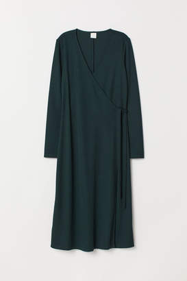 H&M Ribbed Wrap-front Dress - Green