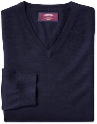 Charles Tyrwhitt Navy Merino Silk V-Neck Merino Silk Sweater Size XXL
