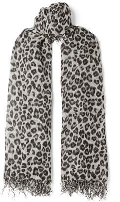 Chan Luu Fringed Leopard-print Cashmere And Silk-blend Scarf