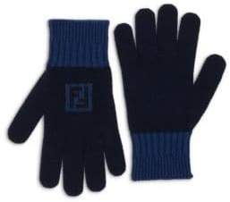 Fendi Fun Logo Wool& Cashmere Gloves