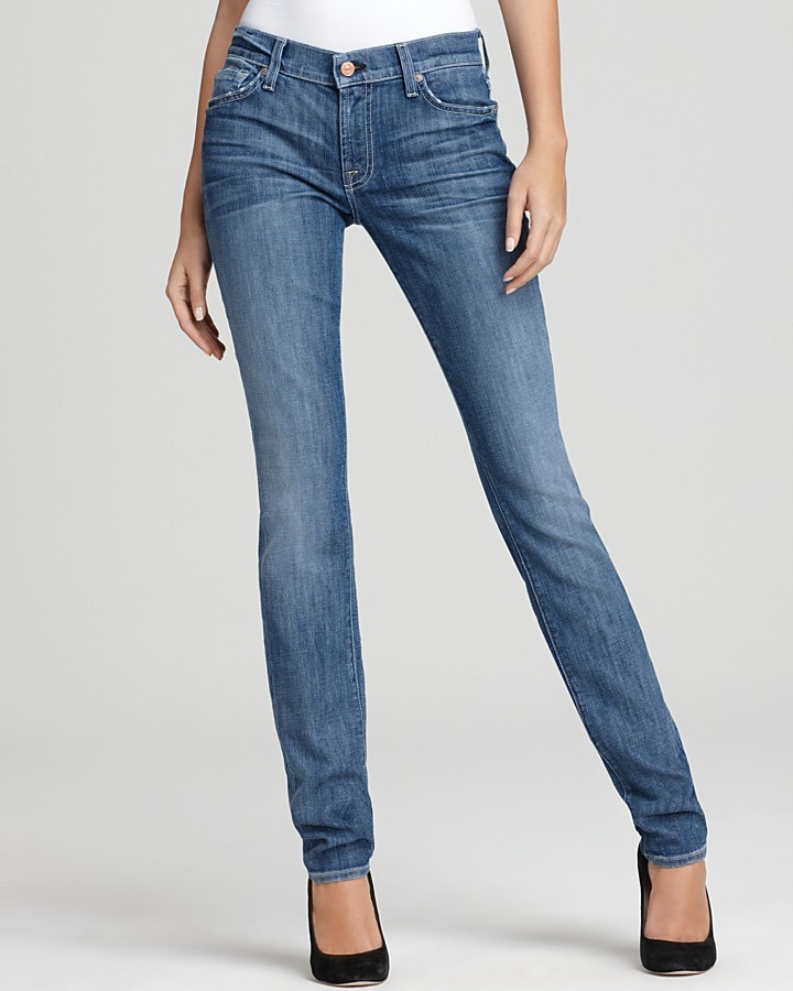 7 For All Mankind Jeans - Roxanne Skinny Jeans in Heritage Light