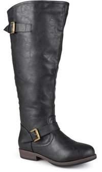 Brinley Co. Womens Wide-Calf Knee-High Studded Riding Boot
