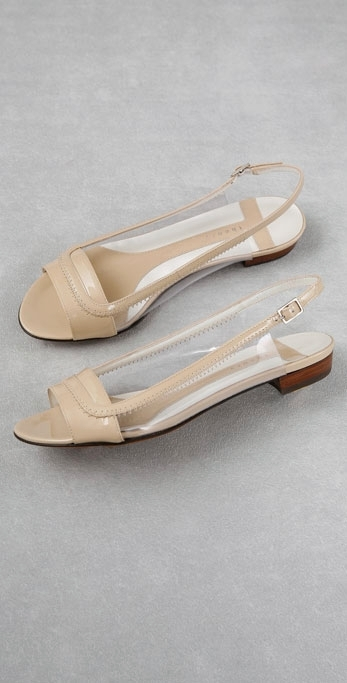 Theory Shoes Linda Open Toe Sling Back Flat