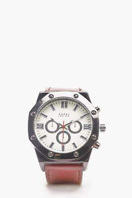 boohoo NEW Mens White Chunky Multi Face Watch in White size One Size
