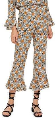 Topshop Leopard Spot Frill Trousers