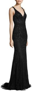 Jovani Beaded V-Back Gown $640 thestylecure.com