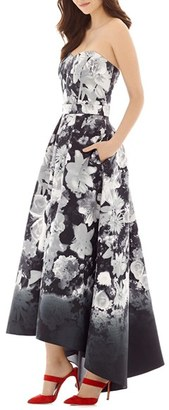 Women's Alfred Sung Floral Print Strapless Sateen High/low Dress $238 thestylecure.com