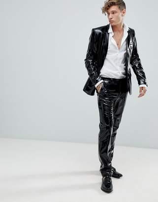 Asos DESIGN skinny suit pants in black pvc