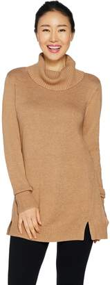 Halston H By H by Turtleneck Sweater Tunic with Rib Detail