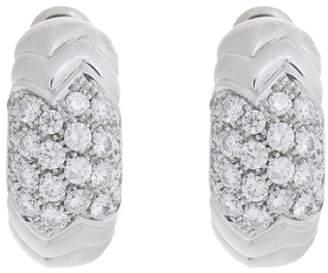 Bulgari Bvlgari 18K White Gold Paved 2.00 Ct Diamond Spiga Huggie Earrings