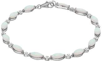 Sterling Silver Lab-Created White Opal Marquise Bracelet
