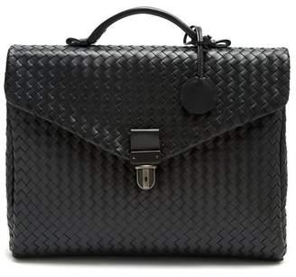 Bottega Veneta Intrecciato Leather Briefcase - Mens - Black