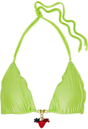 Agent Provocateur Berry Embellished Bikini Top - Lime green
