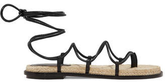 Paul Andrew Wrap It Up Leather Espadrille Sandals - Black