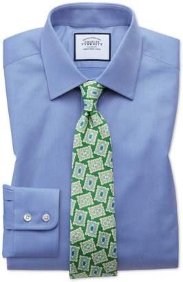 Charles Tyrwhitt Slim Fit Egyptian Cotton Trellis Weave Mid Blue Dress Shirt French Cuff Size 15/33