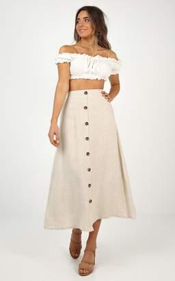 Showpo Stay Young skirt in beige linen look