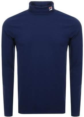 Fila Vintage Long Sleeve Roll Neck T Shirt Navy