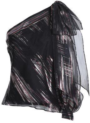 Milly Nina One-Shoulder Metallic Silk-Blend Organza Top