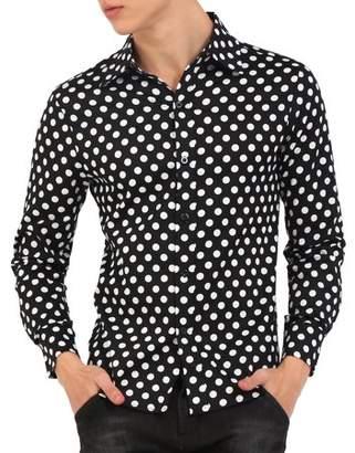 Unique Bargains Men Polka Dots Button Down Slim Fit Dress Shirt