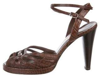 Max Mara Embossed Peep-Toe Sandals