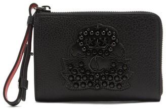 Christian Louboutin Tinos Crest Embellished Leather Wallet - Mens - Black