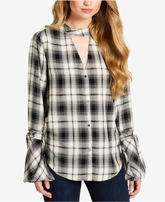 Jessica Simpson Plaid Choker Shirt