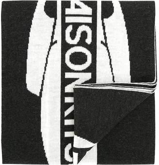 MAISON KITSUNÉ Black & White Supporter Wool Scarf