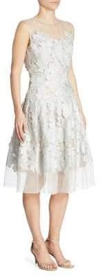 Carmen Marc Valvo Floral Applique Cocktail Dress