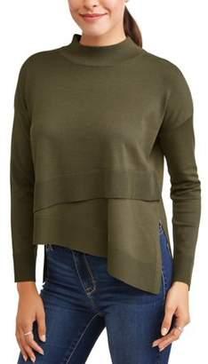 N. Heart Crush Women's Layered Front Mock Neck Sweater