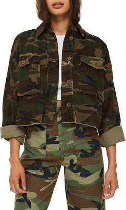Topshop Camo Corduroy Crop Jacket